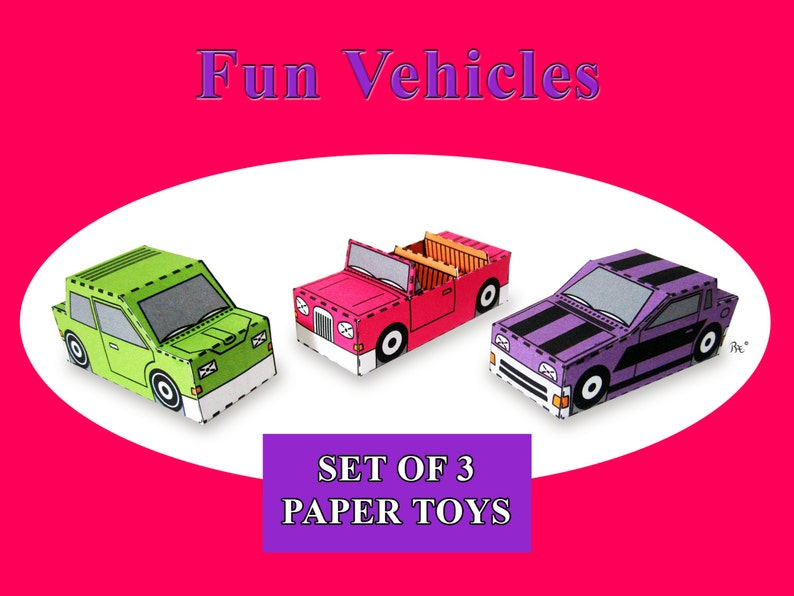 Fun Vehicles Paper Toy Car Models Set of 3