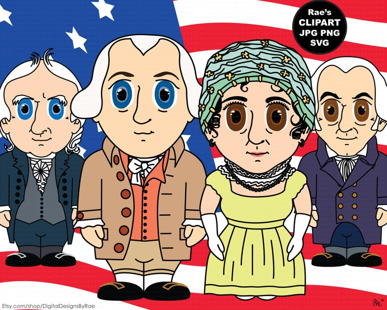 President James Madison Clipart Set with George Clinton, Elbridge Gerry,  and Dolley Madison