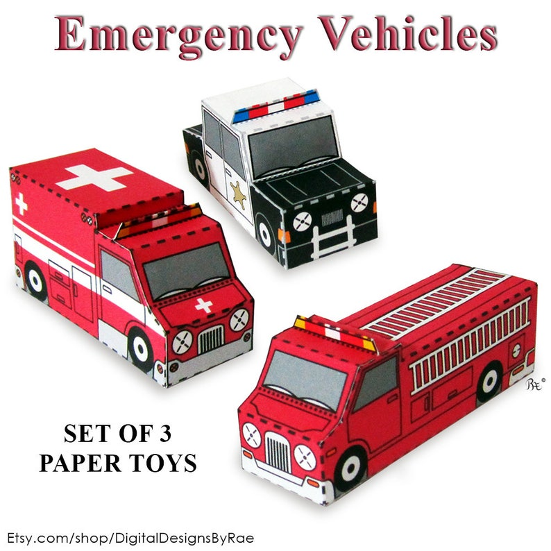 Emergency Vehicles Paper Toy Vehicle Models Set of 3