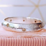 Eight RARE fancy Champagne Diamonds Eternity Wedding ring band in solid 9ct White Gold Ready made Ring, April Birthstone ring