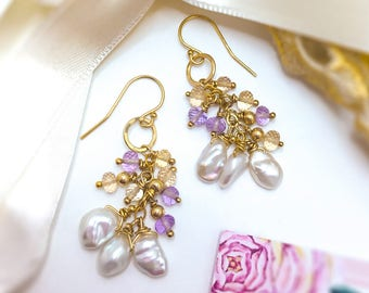 White Keshi Pearls earrings, South Sea Pearls 9ct solid Gold drop earrings, Ametrine Wedding earrings, 9ct solid Gold earrings.