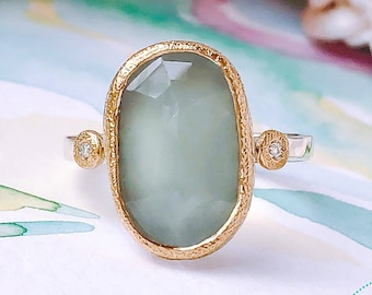 867d5e839505 Natural Freeform Aquamarine Engagement Ring with Diamonds in 22ct Yellow  gold and 9ct White Gold.