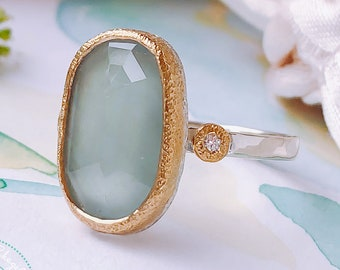 Natural Rose Cut Aquamarine & Diamonds Art Deco Engagement ring in 18ct solid Gold and 925 Silver.