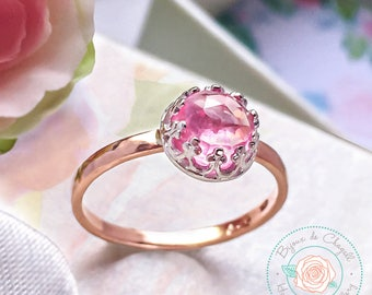 Pink Sapphire Ring, Pink Sapphire Rose Gold, Rose Pink Sapphire Ring, Princess Cut Ring, Pink Sapphire Jewelry, Sapphire Engagement Ring.