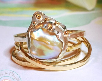 South Sea Keshi Pearl ring, Gold Keshi Pearl ring, Champagne Keshi Pearl ring, Art Nouveau gold ring, 9ct, 14ct, 18ct solid Gold ring.