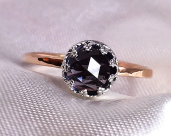 Alexandrite solid Gold engagement ring, Alexandrite vintage style Crown ring, 9ct, 14ct, 18ct solid Gold & Silver ring.