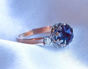 Alexandrite Diamond ring, Alexandrite & Moissanite Diamond ring, 3 stone Alexandrite Engagement ring, 9ct, 14ct, 18ct solid Gold ring.