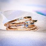 Moissanite Diamond Stackable rings set, 9ct solid Gold Hammered five ring set, April Birthstone ring