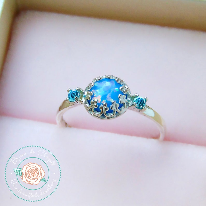 Blue Opal Engagement Ring with Paraiba Topaz in 925 Sterling Silver Ready made ring Crown Opal ring