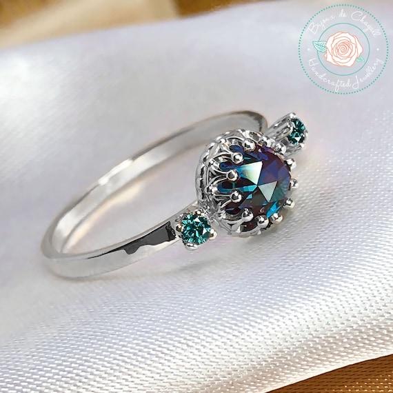 Alexandrite Engagement Ring Alexandrite Ring Sterling Silver Alexandrite Ring Silver Engagement Ring Conflict Free Engagement Ring
