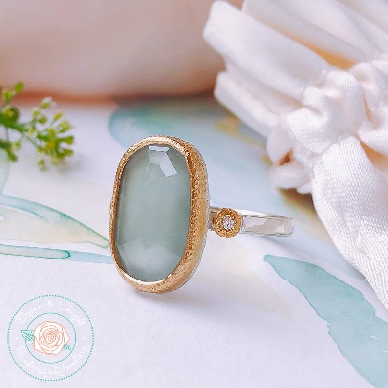 Natural Rose Cut Aquamarine & Diamonds ring Art Deco image 0