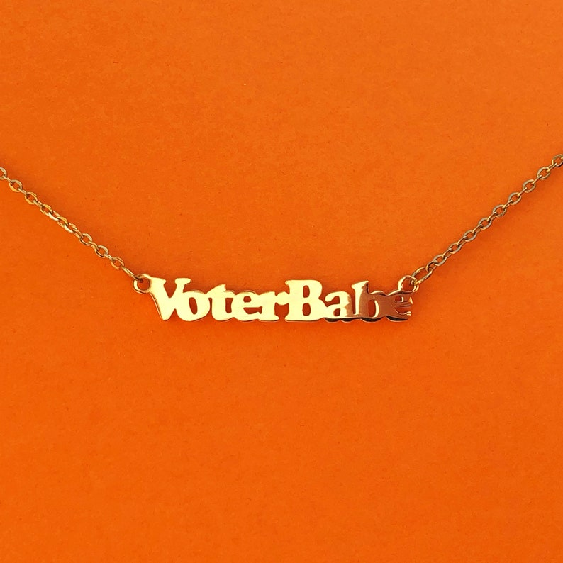 Voter Babe 18k Gold Plated Necklace