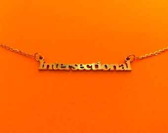 Intersectional Feminism Nameplate Necklace Gold 18k