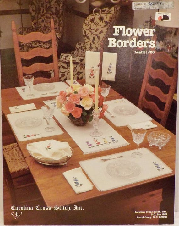 Flower Borders Cross Stitch-Flowers-Lettering-4 Patterns- by Carolina Cross  Stitch