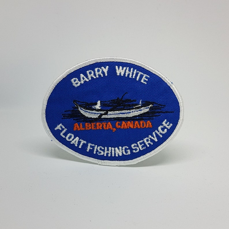Berry White Float Fishing Alberta Patch Applique Crest 4 x 3 Inches
