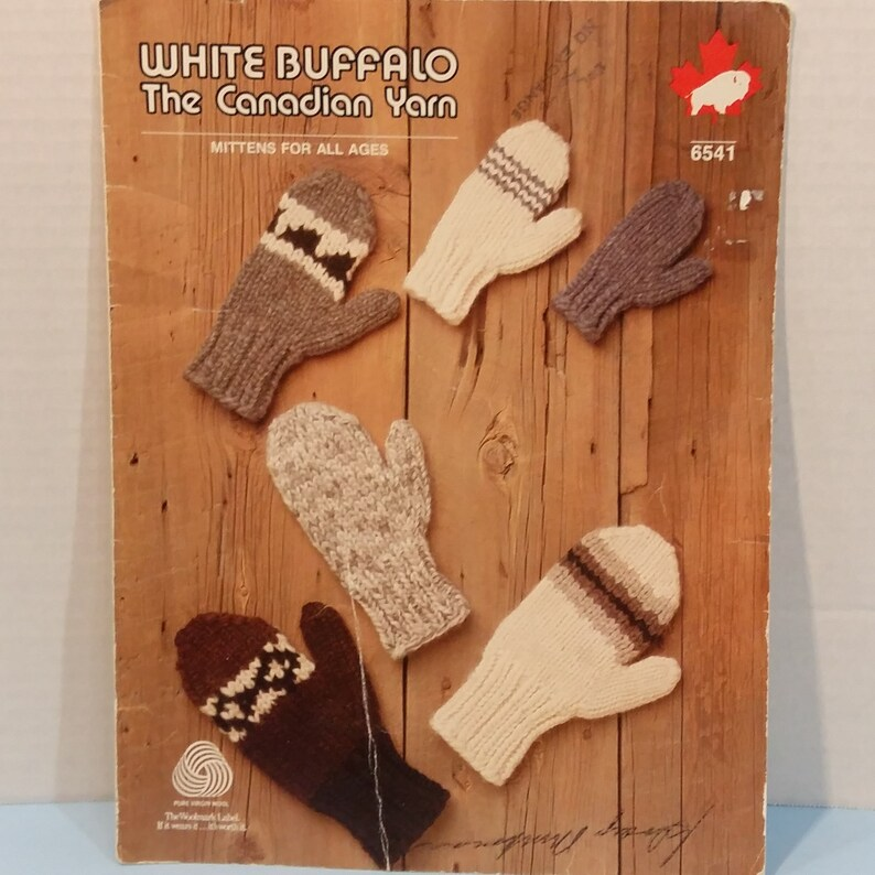 Mittens For All Sizes All Ages Knitting Crochet Patterns Vintage 6 Patterns By White Buffalo