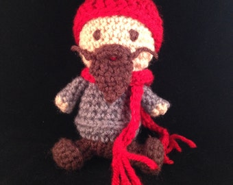 Meet Asheville, the little handmade hipster with heart. Individually crocheted to custom specifications.