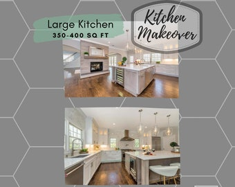 Large Kitchen Makeover.  Virtual E-Interior Design for larger kitchens between 350-500 square feet.