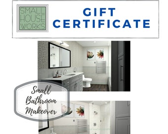 E-Design Gift Certificate-Small Bathroom Makeover, Great gift idea for any homeowner needing a bathroom updated. Interior design services.