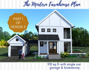 Modern Farmhouse Plan with Garage and Breezeway, Design #3-Part 1.  2 bedrooms  2 bathrooms, 910 sq ft
