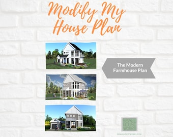 CUSTOM MODIFICATION-The Modern Farmhouse Plan.  Contact us for your quote. Please read the listing description for important information!