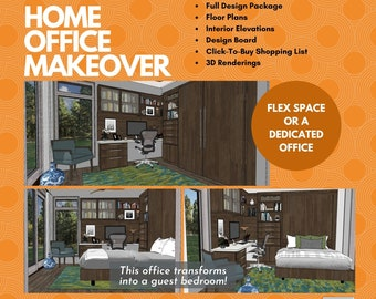 Home Office Makeover. Virtual E Interior Design for a home office or dual purpose room.  Transform your existing room!