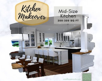 Mid Size Kitchen Makeover.  Virtual E-Interior Design for mid size kitchens between 200-350 square feet.