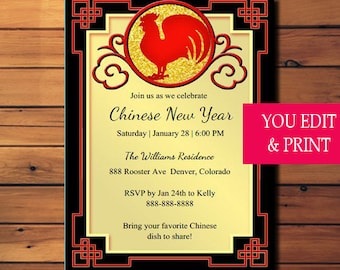 Chinese New Year Invitation, Year of Rooster Invitation, Chinese Dinner Party Invitation, Rooster Invitation, Edit Yourself with Adobe