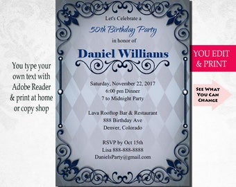 50th Invitation Birthday Party Mens Male Bday You Edit PDF