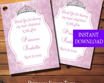 Princess Party Favor Tags Tag Birthday Gift Printable Instant Download Diy