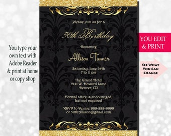 50th Birthday Invitation Party Gold Glitter Invite You Edit PDF