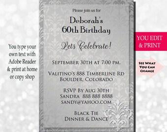 60th Invitation Birthday Party 50th 70th Silver Damask You Edit PDF