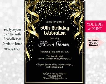 60th Birthday Invitation Party Gold Glitter You Edit PDF