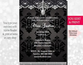50th birthday invitation 50th birthday party invitation mens etsy