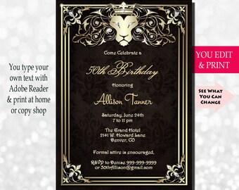 50th Birthday Invitation Party Fifty Gold Invite You Edit PDF