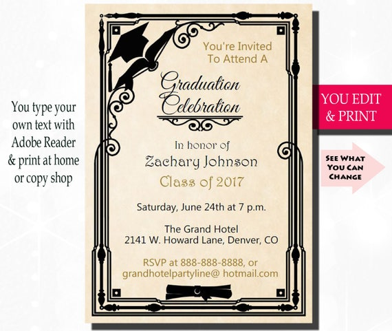 graduation invitation graduation party invitation grad party