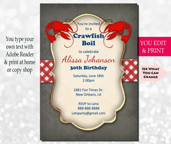 image about Crawfish Boil Invitations Free Printable identified as Crawfish Boil Invitation, Crawfish Invitation, Crawfish