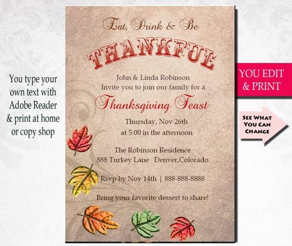 thanksgiving invitation thanksgiving dinner invitation eat drink
