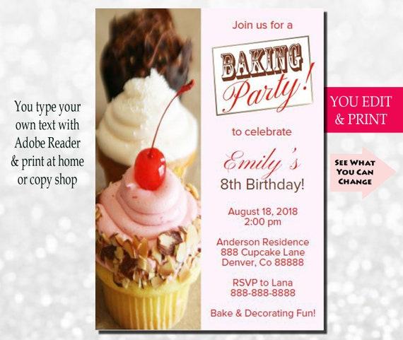 baking party invitation baking birthday invitation cupcake party