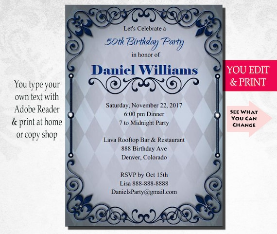 50th Invitation Birthday Party Mens Male Bday You Edit PDF
