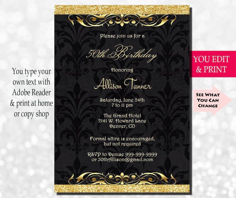 50th Birthday Invitation Party