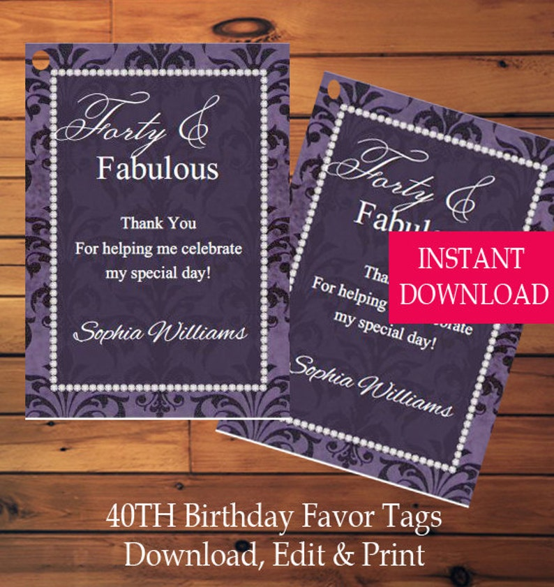 40th Birthday Favor Tags Gift Instant Download Fabulous Forty