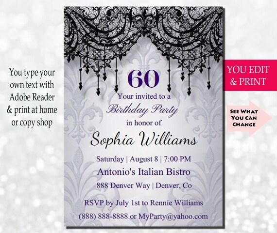 60th Birthday Invitation Adult Surprise Women Instant Download Editable PDF Printable DIY Sixty