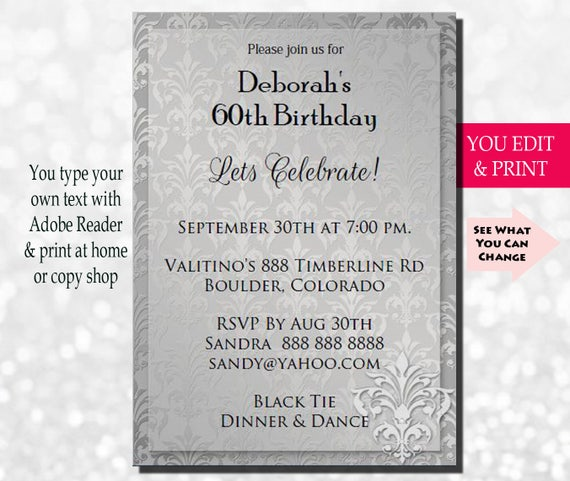 60th Invitation Birthday Party