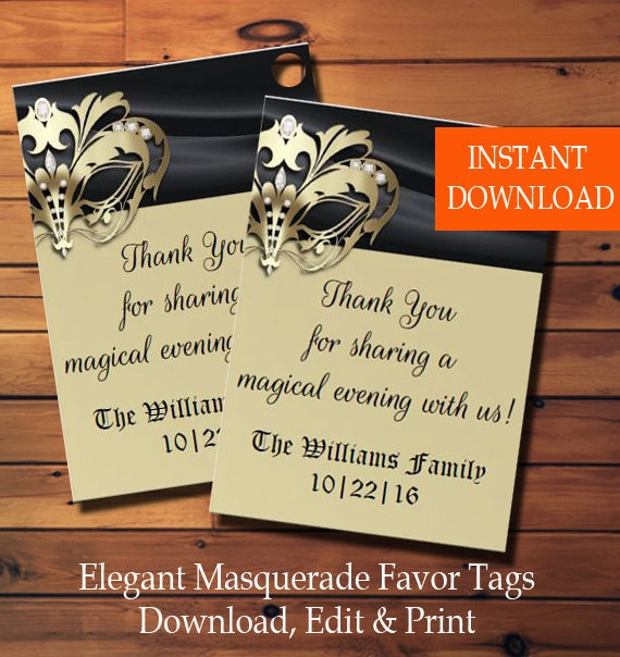 elegant masquerade favor tags party favor gift tags masquerade
