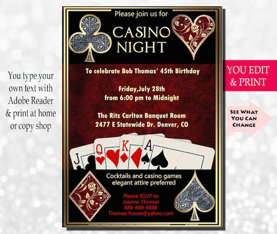Casino Night Invitation Party