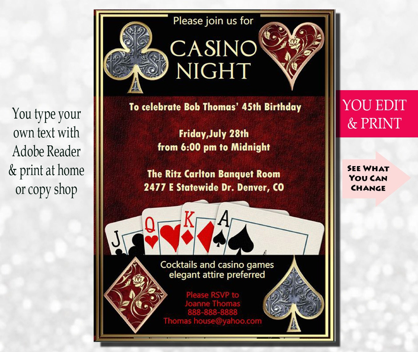 Casino Night Invitation Casino Invitation Casino Party | Etsy