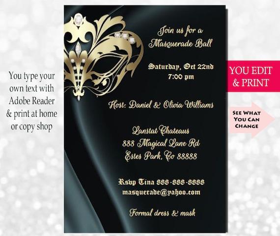 elegant masquerade party invitation masquerade invitation etsy