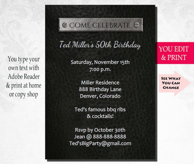 50th Birthday Invitation Party Mens