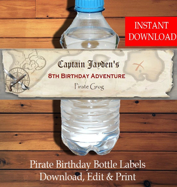 Printable DIY Girls Pirate Water Labels Girls Pirate Birthday Girls Pirate Party Water Pink Pirate Water Bottle Labels with Editable Text